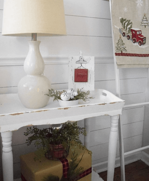 Christmas cottage charm bedside table decor