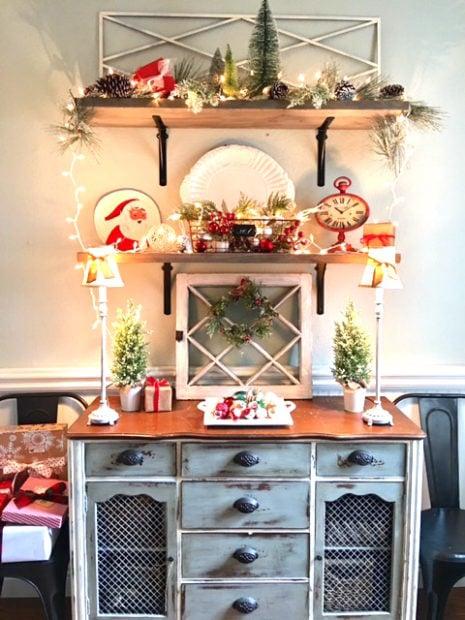 Festive holiday shelf display shelfie