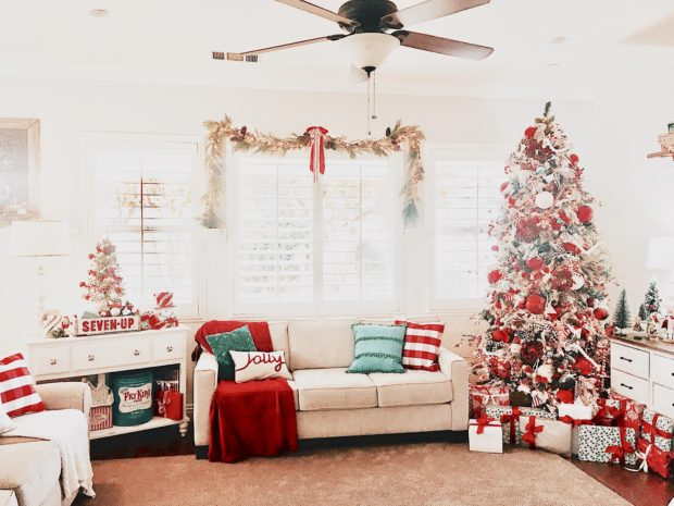 Holiday red and white decor