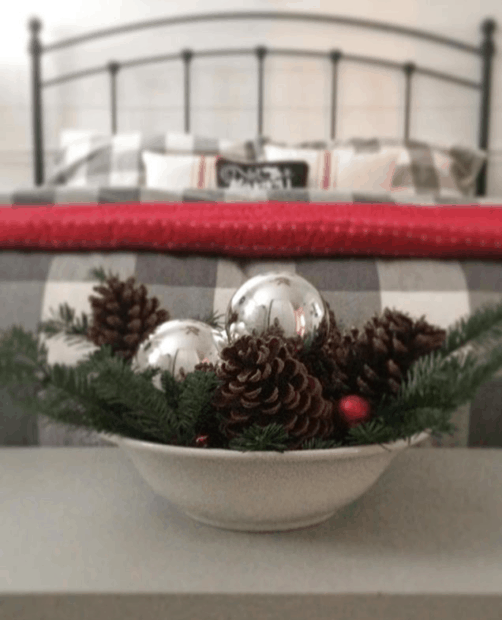 Ornaments in bowl for cottage look