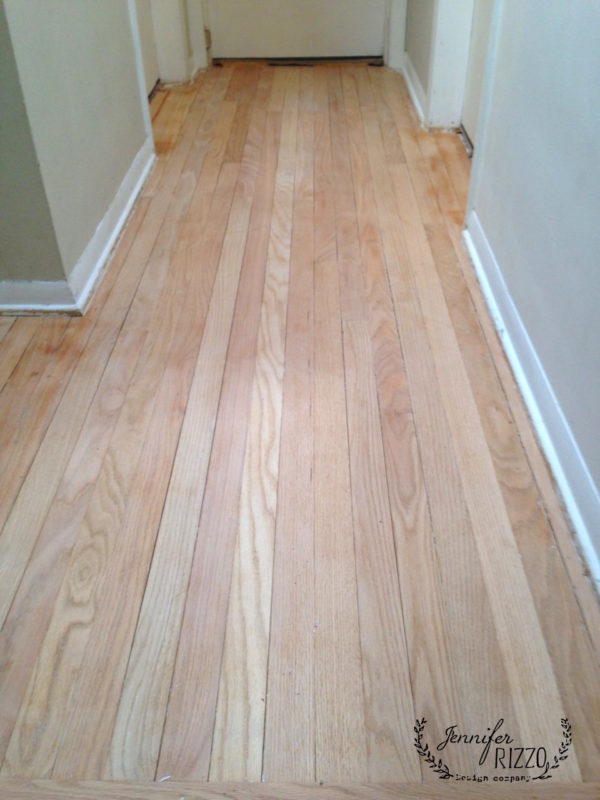 Sanded bare wood floors