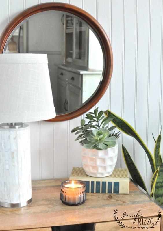 Boho round wood mirror DIY