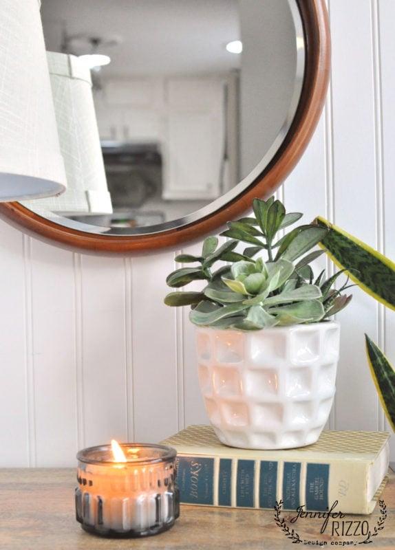 High end round wood mirror for under $30