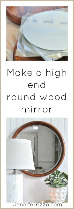 Make a high end round wood mirror DIY with a wood platter