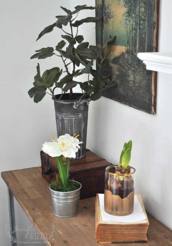 Table vignette for decor in a cozy winter living room