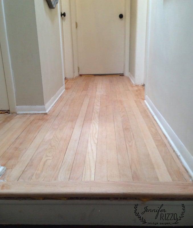 Refinishing wood floors in the hallway
