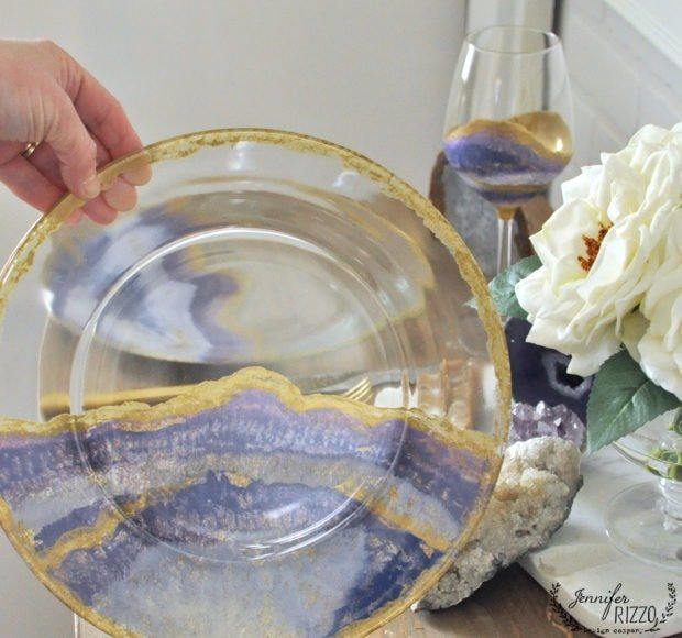DIY hand-painted agate-inspired plates and wine glasses