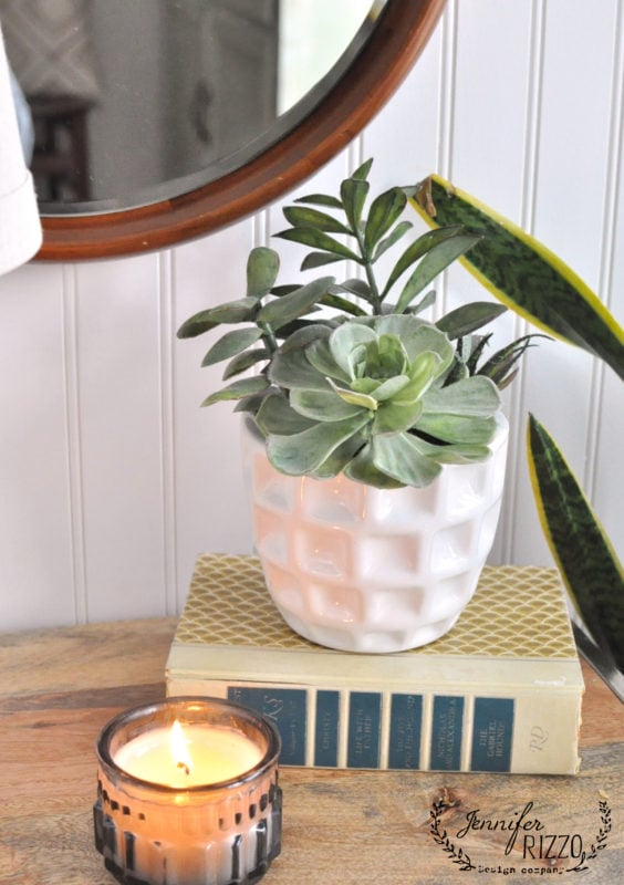 Candle and succulent