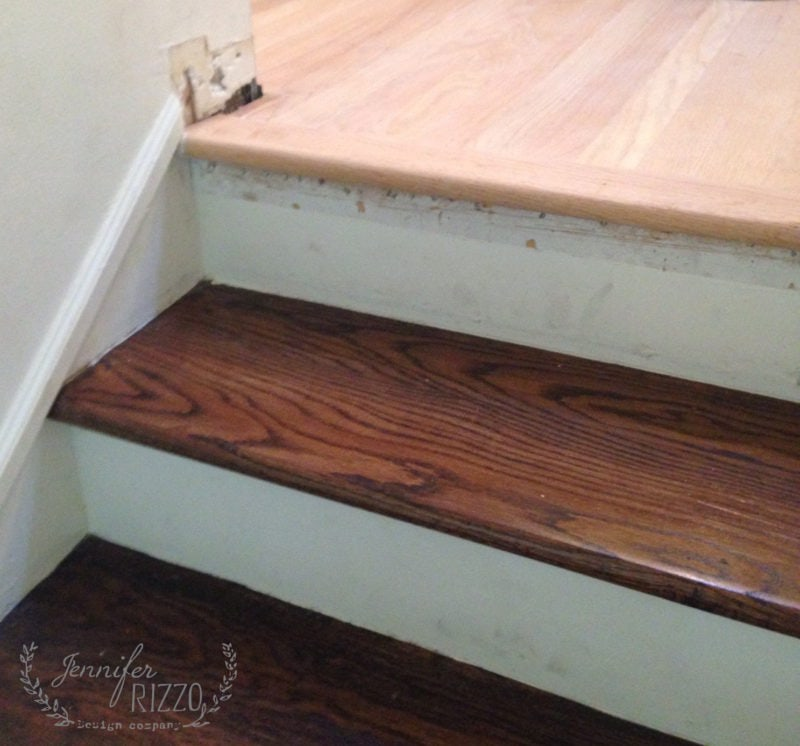 Matching stairs with custom stain
