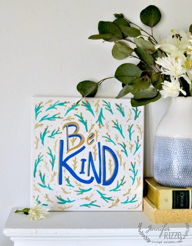 Be kind art print painted word art