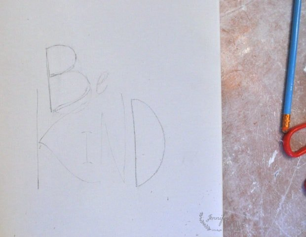 Be kind word art pencil drawing