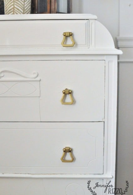 Painted dresser makeover with brass handles