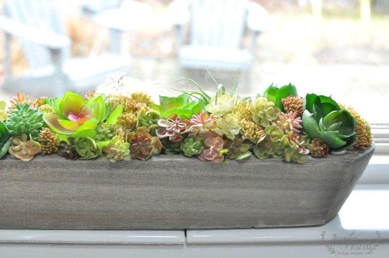 Faux succulent window planter