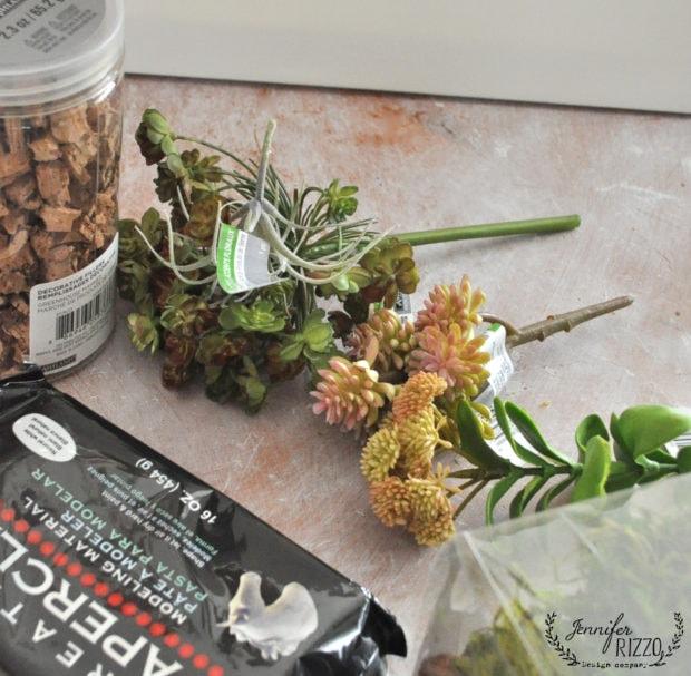 Supplies to make DIY succulent planter