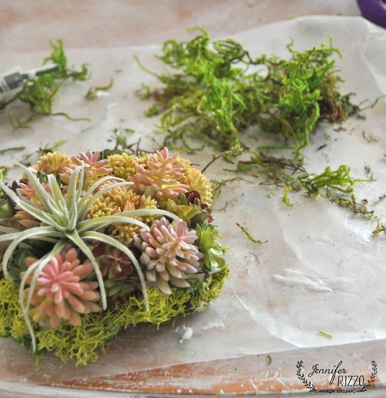 DIY mini succulent planter with faux succulents