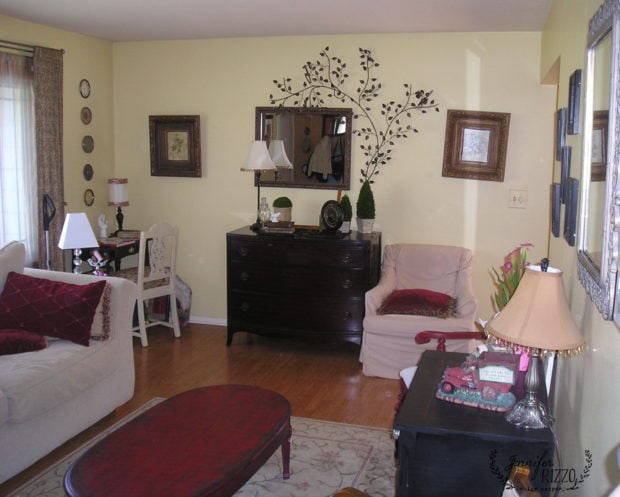 Living room before staging- Your decorating style takes time