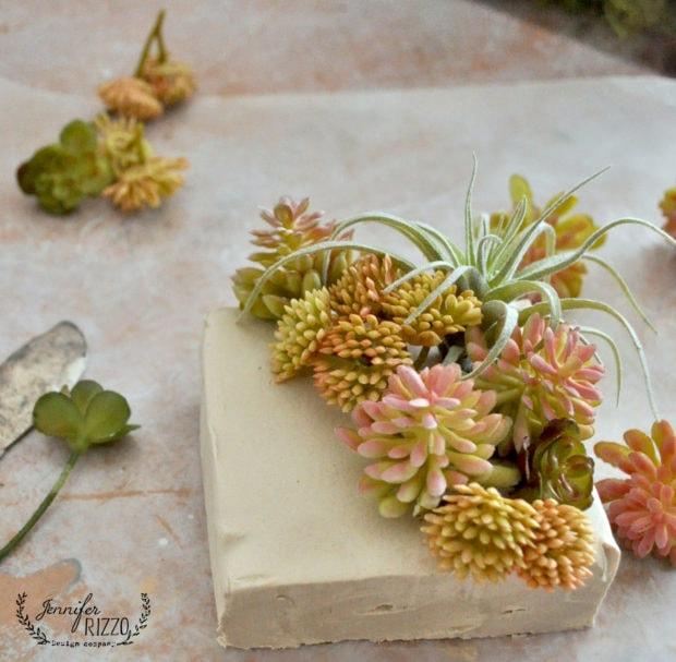 Make a DIY mini succulent planter with faux succulents