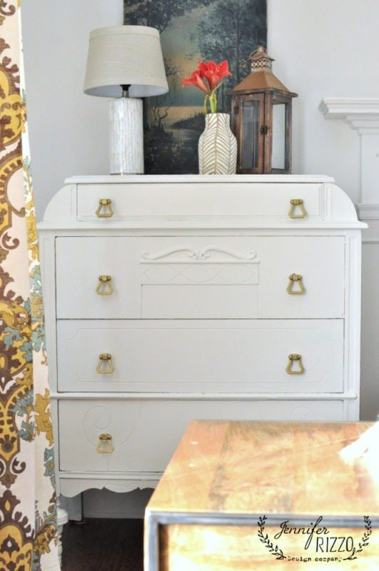 Painted white dresser makeover again whote paint and brass handles