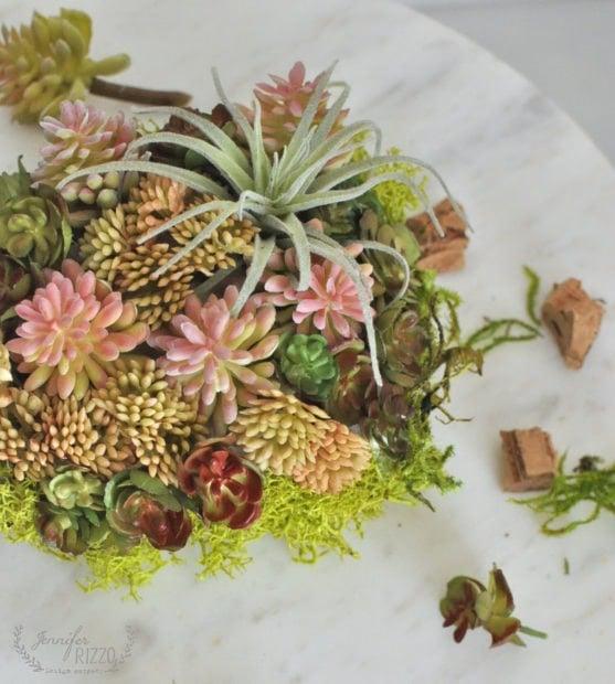 Make a DIY sucuclent planter with mini faux succulents