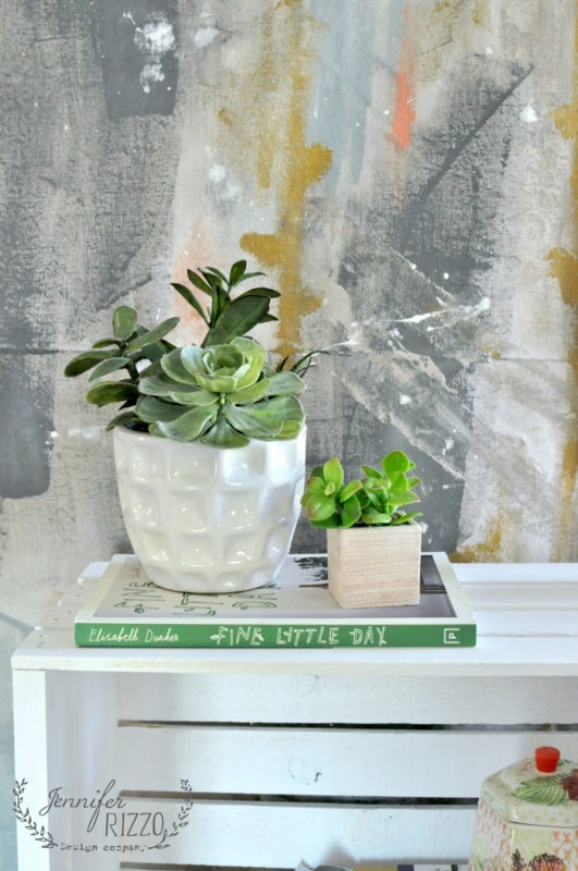 hand painted backdrop and succulent
