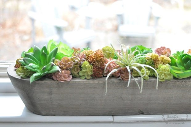 DIY succulent windowsill planter in wood trough