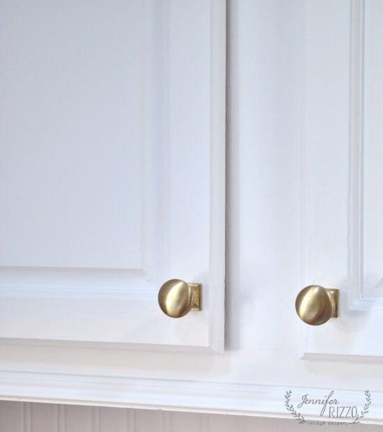 Upclose soft brass kitchen cabinet knobs