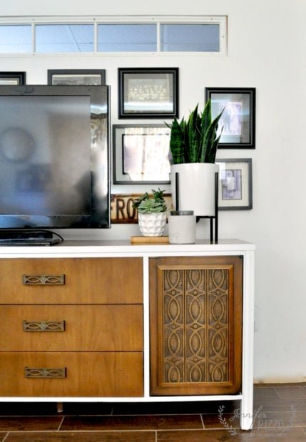 Vintage cabinet makeover with boho vibe