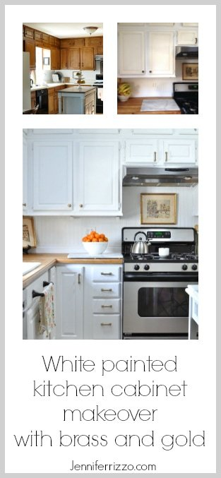 Kitchen cabinets painted white with brass cabinet pulls and gold accents for an updated kitchen