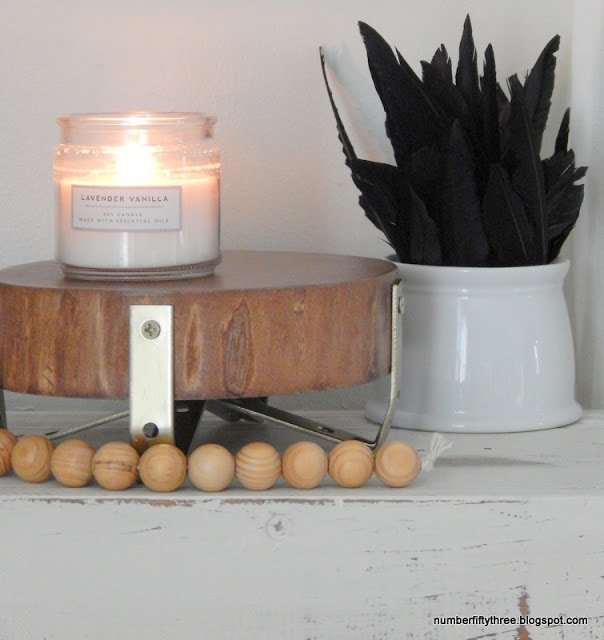 DIY wood plant stand from a wood slice