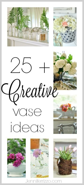 25+ creative vase ideas! Use items like vintge iron stone, silver, or even recycled jars as a way to display your spring flowers and blooms