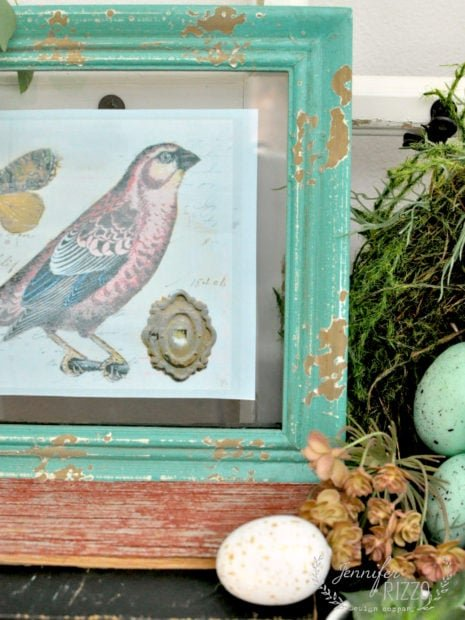 Pretty vignette with free spring bird printable