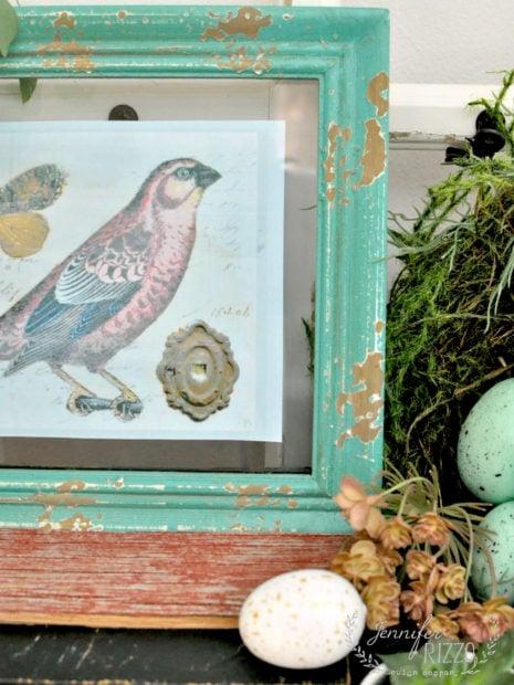 Pretty vignette with free spring bird printable