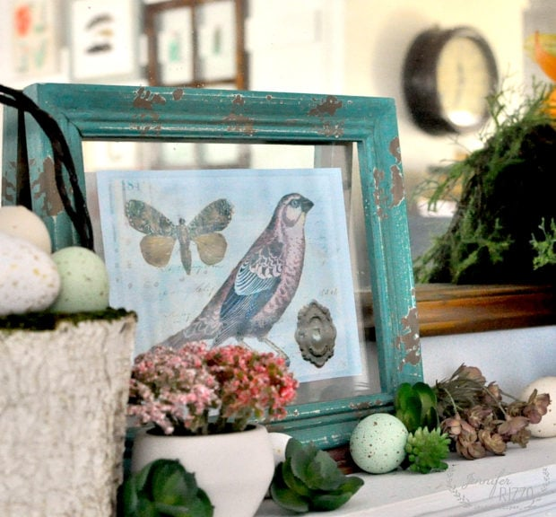 How to easily style your Easter and Spring mantel using a free bird printable