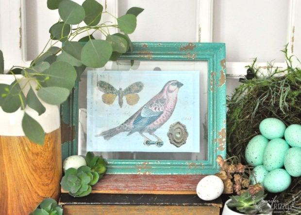 Free spring bird printable and Spring vignette