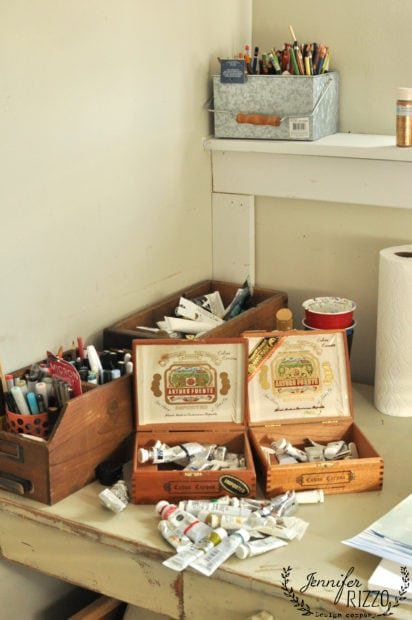 Cigar boxes as paint storage