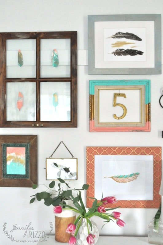 Collage gallery wall with frames
