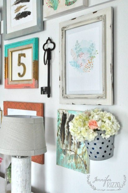 Collage gallery wall with fun boho decor
