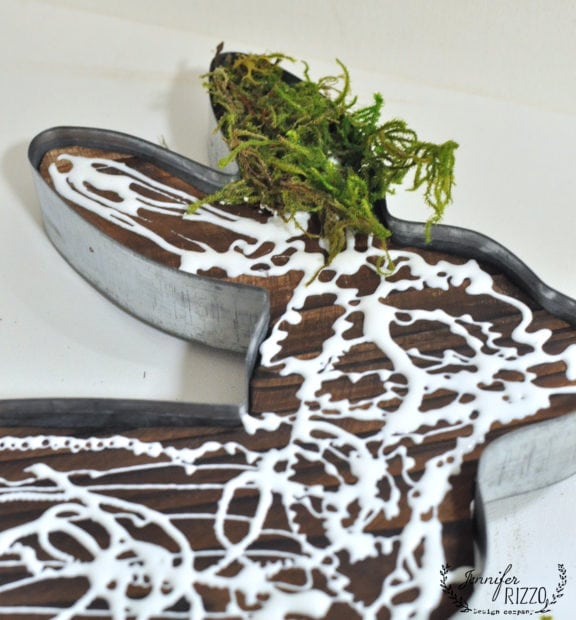 Glue moss on a wood and metal rabbit for a moss-covered rustic bunny