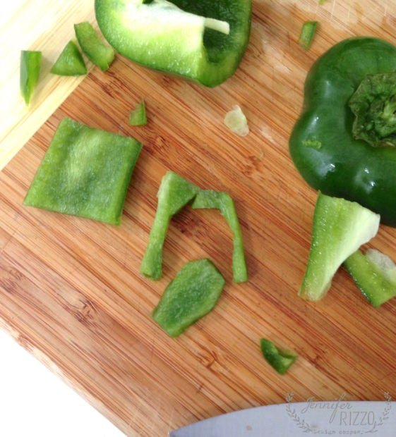 Cutting green peppers to look like succuent leaves in dip! Such a cute appetizer idea!