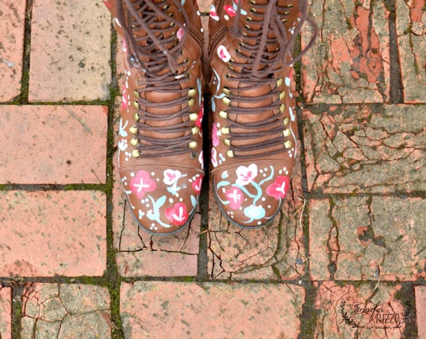 Use paint to upcycle a pair of thrift store boots!