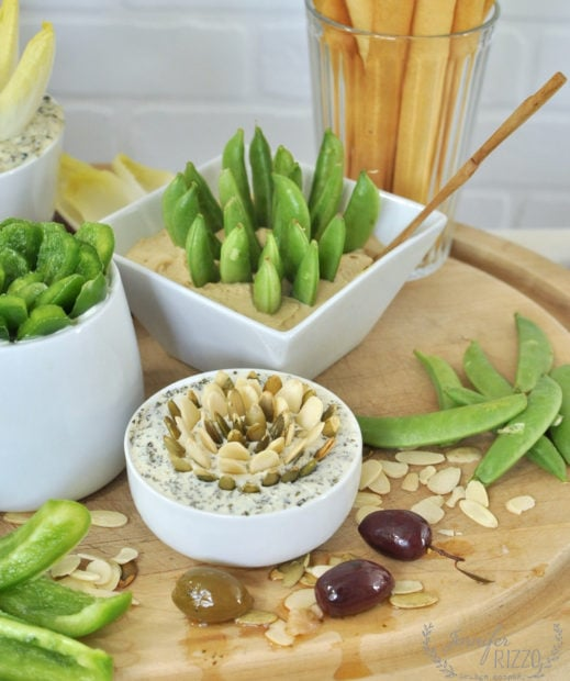 Dip with pea pods for a fun party tray idea