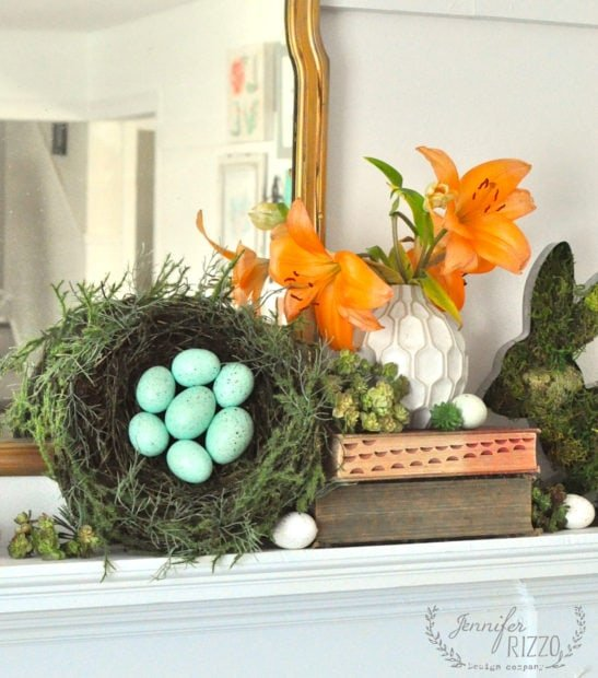 Styling an Easter and spring mantel, place your large items first