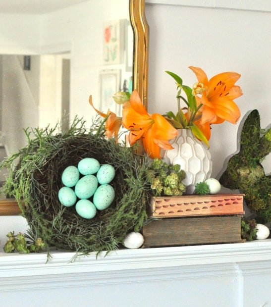 SPring ans Ester mantel styling ideas using eggs and succulents