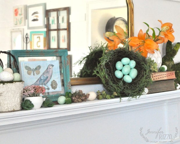 HOw to style a spring and Easter mantel with easy instruction with natural elements