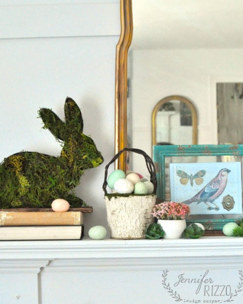 How to style your spring ans Easter mantel using natural elements