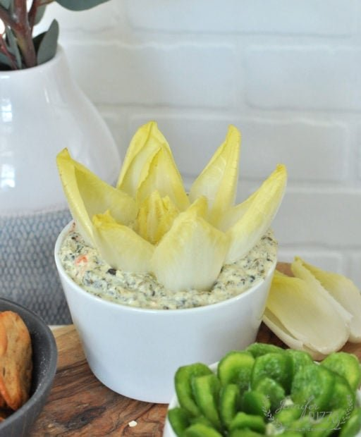 Endive in spinach dip to make a faux succulent for an appetizer amd dip idea