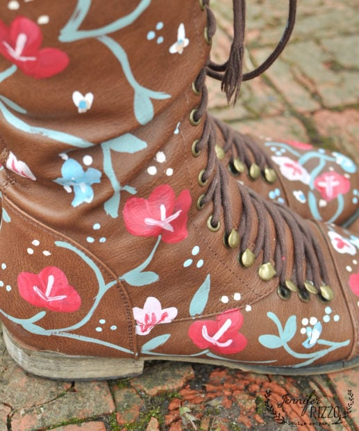 These hand-painted floral boots are the perfect makeover for a pair of oold shoes or boots!