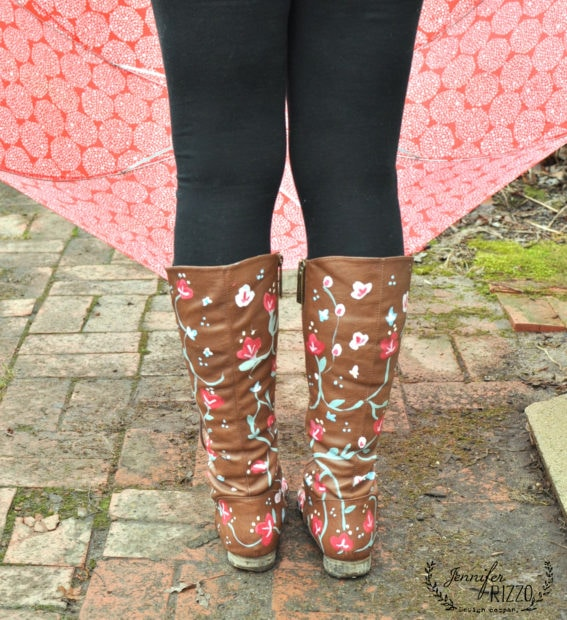 DIY hand-painted floral boots