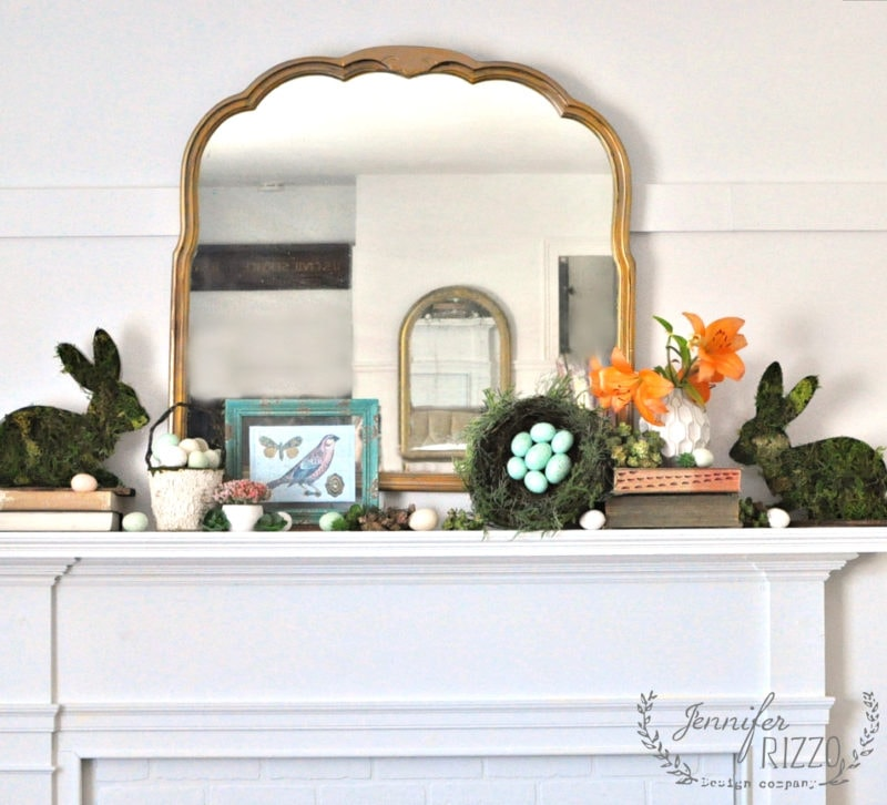 How to visually style a spring and Easter mantel with out being matchy-matchy
