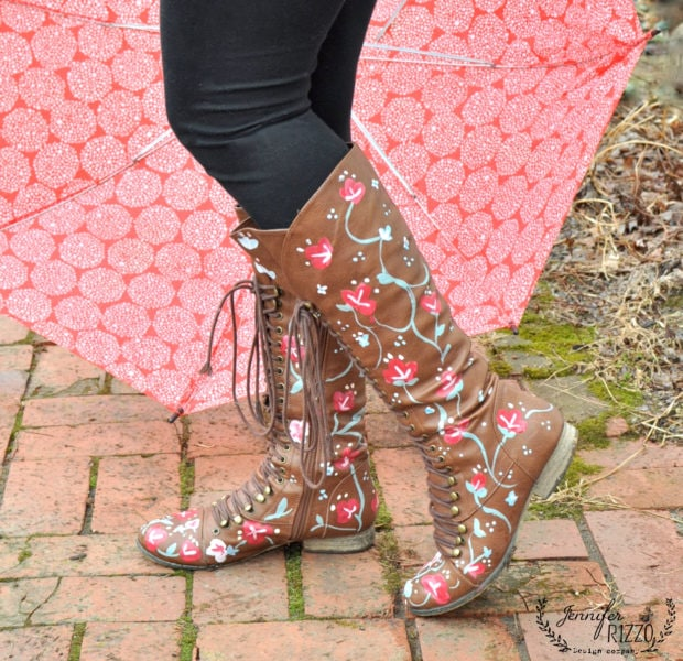 Paint some fun floral custom boots with paint